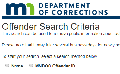 Minnesota Department of Corrections (DOC) Website