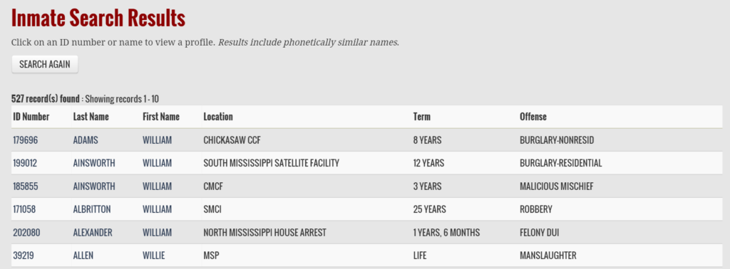 Mississippi Department of Corrections (DOC) Website