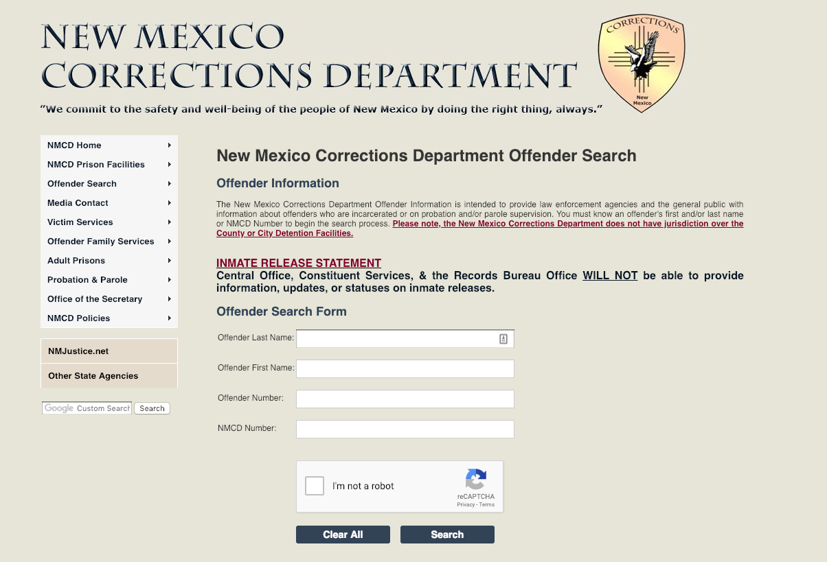 New Mexico Department of Corrections (DOC) Website